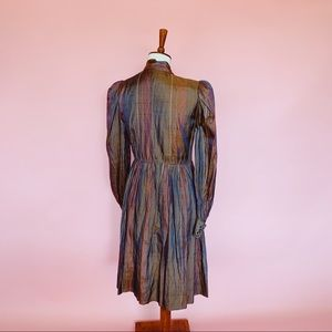 Vintage Dresses - Vtg 70s Silk Iridescent Striped Babydoll Dress S M